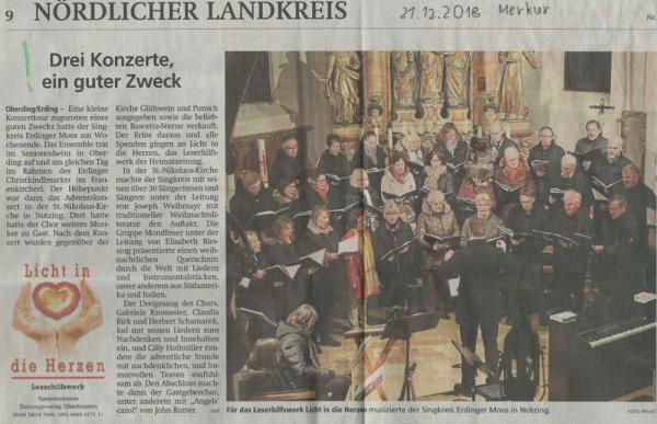 Zeitungsartikel Merkur: Adentskonzert Dez. 2018