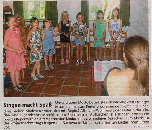 Zeitungsartikel Merkur: Feriensingen